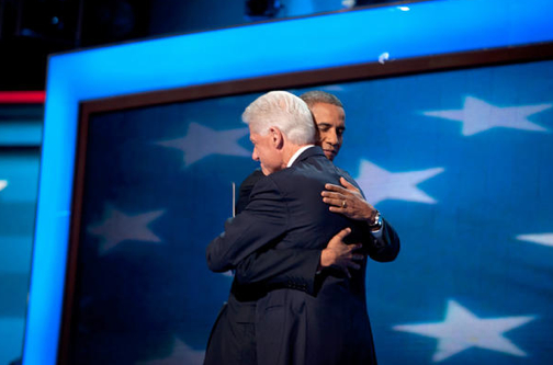 Pres. Obama Hugs Bill Clinton DNC 2012