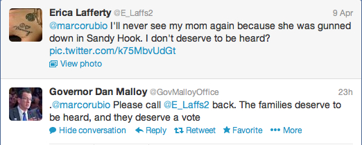 Rubio, Malloy, Lafferty, Sandy Hook Twitter
