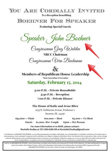 Boehner, Buchanan Fundraiser Invitation
