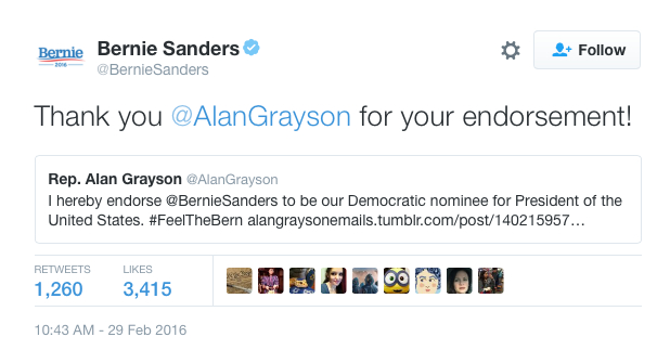 Sanders Grayson Endorsement