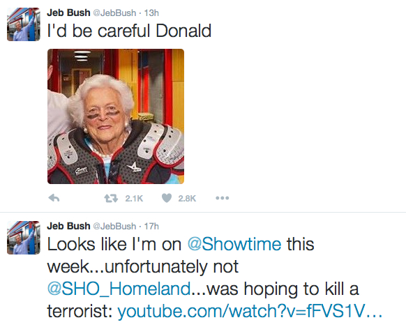 Jeb Gets Tough On Terrorists, Hides Behind Mom