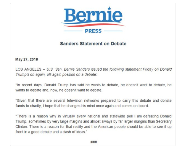 Sanders On Trump Debate