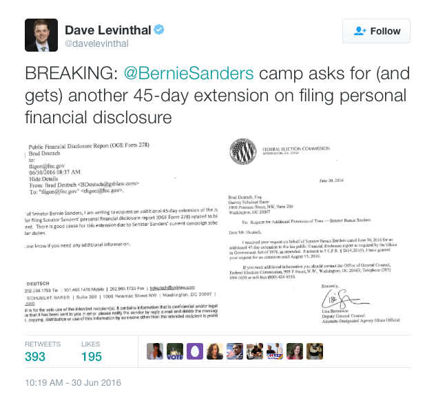 Sanders 2nd FInancial Disclosure Extension